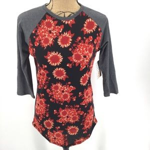 NEW Lularoe Randy T XS Floral Gray Red Black